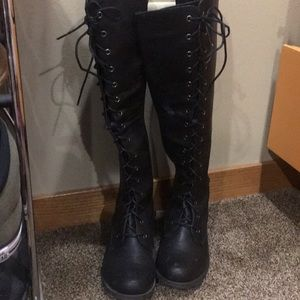 Over the knee combat boots